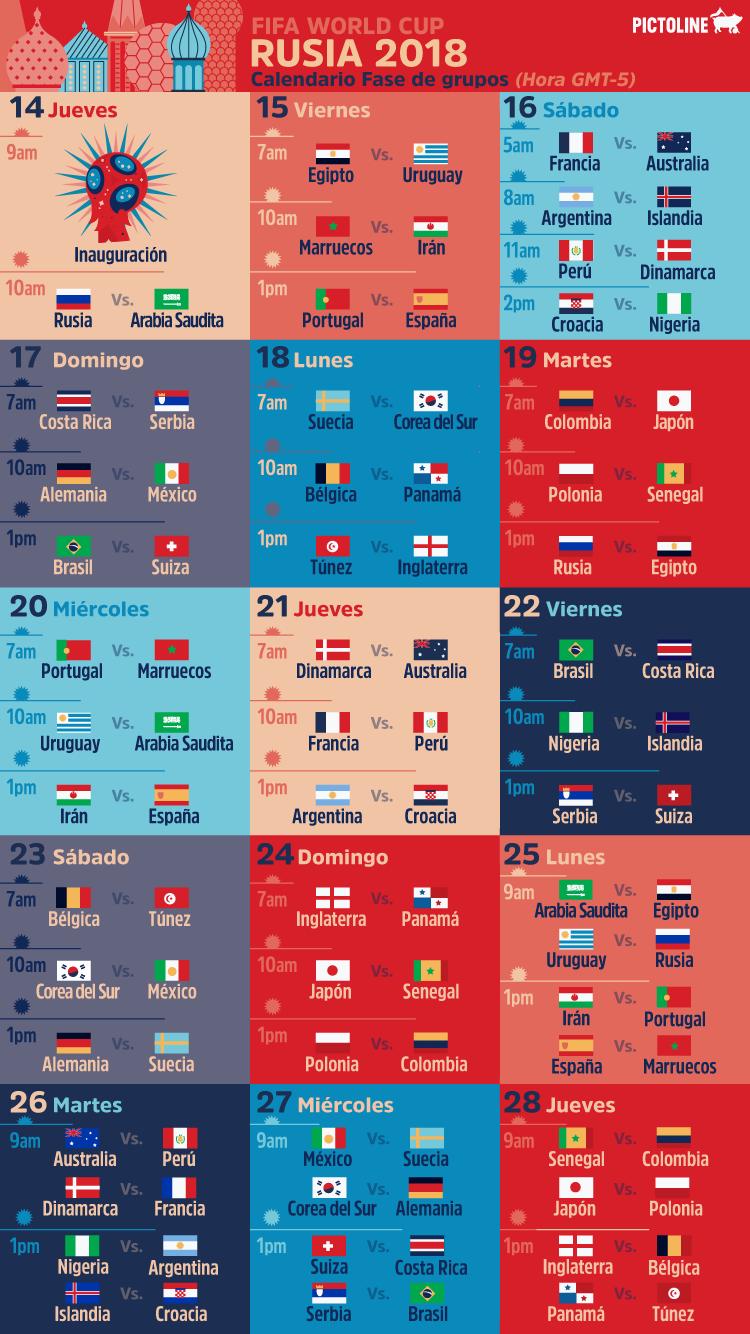Calendario Mundial Futbol.Calendario Mundial De Futbol Rusia 2018 Pictoline